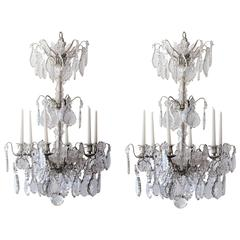 Pair of Large French Three-Tiered Silvered Crystal Chandeliers