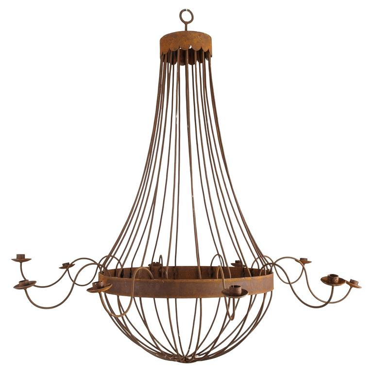 Monumental French Bell Chandelier with Ten Arms