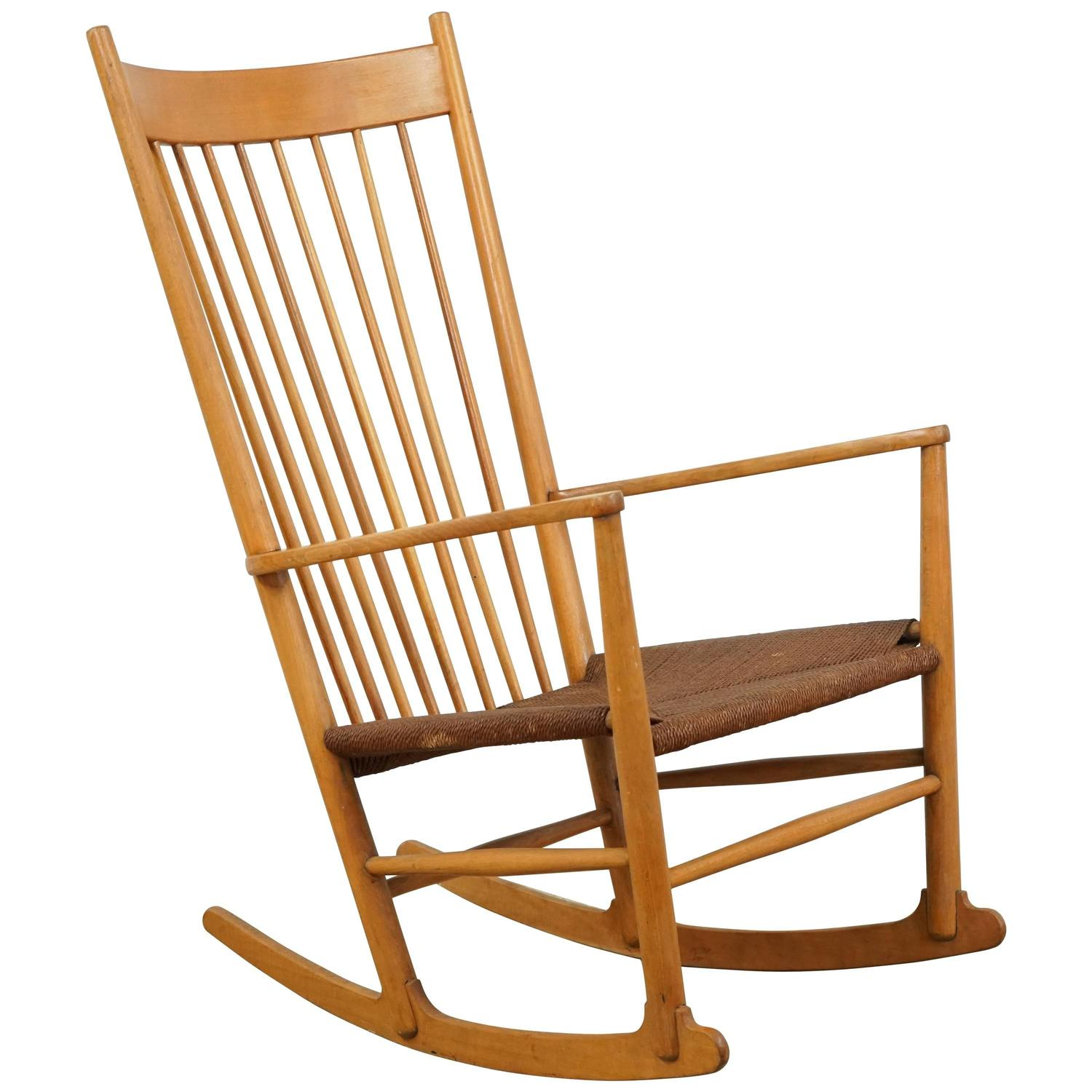 Danish Vintage Rocking Chair With Rope Seat At 1stdibs