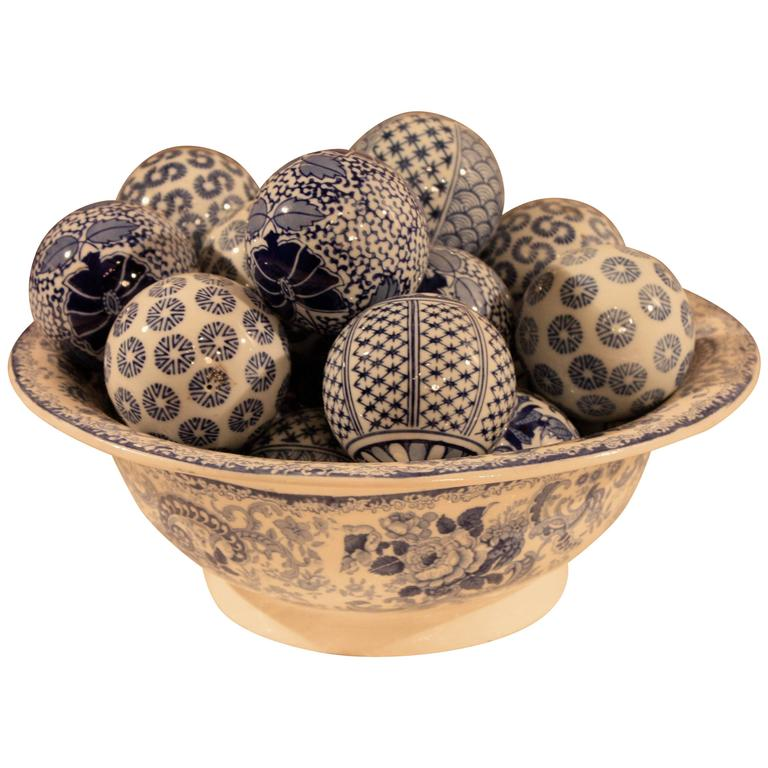 Decorative Balls For Bowls Blue and White Ceramic Bowl with Decorative Balls at 60stdibs 1