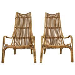 1960s Franco Albini Bamboo Armchairs