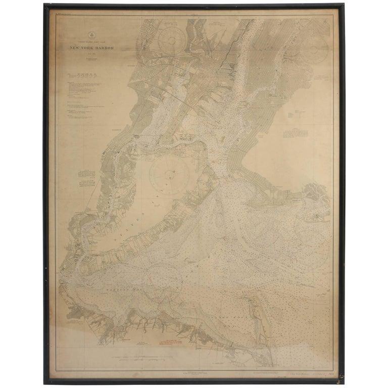 Vintage Map of New York Harbor, Framed, circa 1930  For Sale