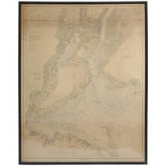 Vintage Map of New York Harbor, Framed, circa 1930