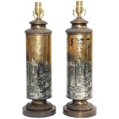 Pair of Églomisé Columnar Lamps, Early 20th Century