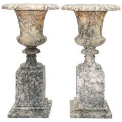 Pair of Carved Alabaster Urns