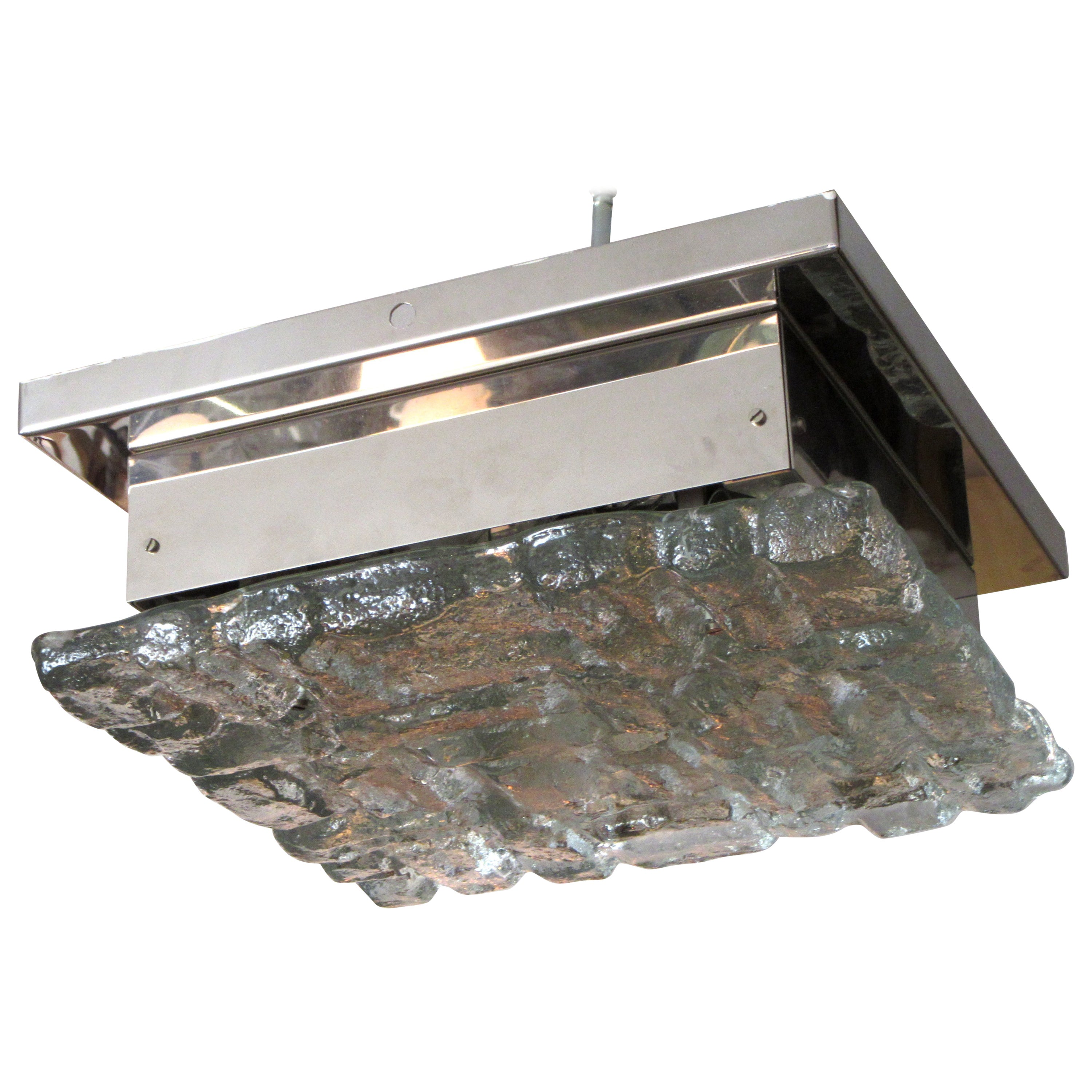 Ice glass and chrome square flush mount ceiling light