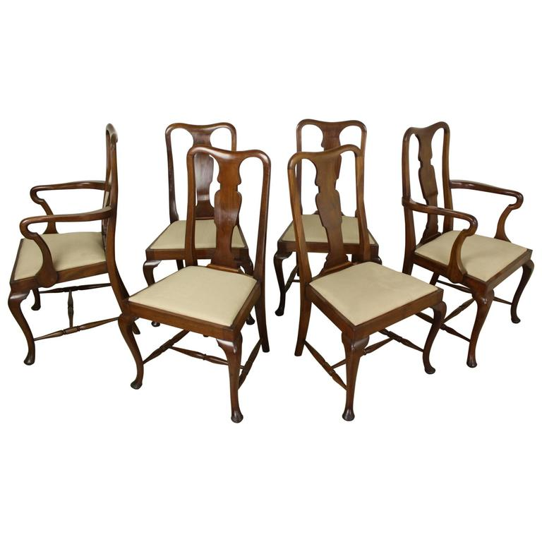 Set of six antique oak queen anne style dining chairs for for Dining room chairs queen anne