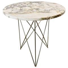 Large Rene Brancusi Marble and Brass Side Table, circa 1955