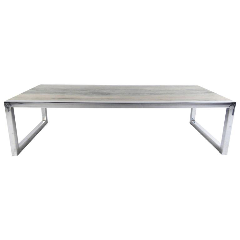 Mid Century Modern Marble And Chrome Coffee Table In The Style Of Milo Baughman For