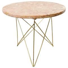 Rene Brancusi Marble and Brass Side Table, circa 1955