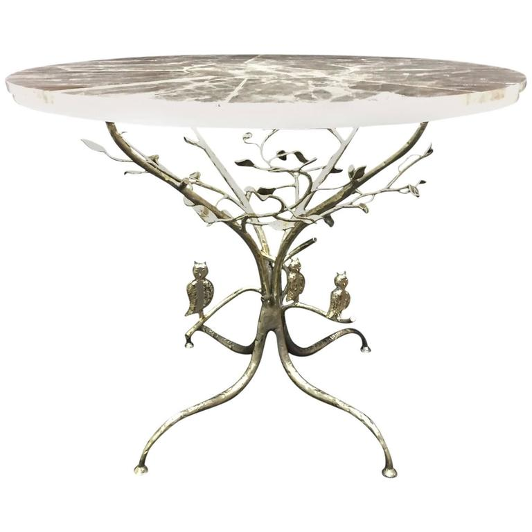 Modern Rock Crystal Table on Hand-Forged Silver-Leafed Iron Base, One of a Kind