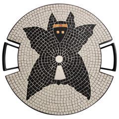 Owl Tray in Hand-Set Mosaic by Ugo La Pietra, Spilimbergo, Italy, 2016