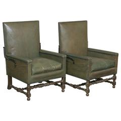 Pair of Mid-Century Modern Leather Reclining Armchairs