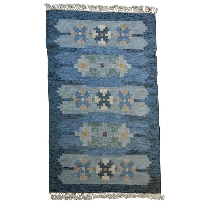 Blue And White Scandinavian Rug: Mid-Century Danish Kelim Rug In Blue Wool At 1stdibs