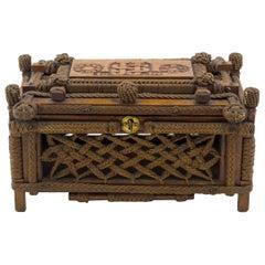 Mahogany and Macrame' Keepsake Box