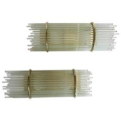 Brass and Glass Rod Mid-Century Wall Sconces by Forecast