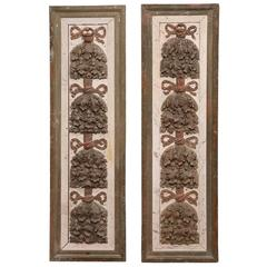 Pair of 18th Century French Carved Hand-Painted Wall Panels from Versailles