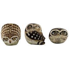 Gustavsberg Studio Hand, Edward Lindahl, Three Owls in Ceramics