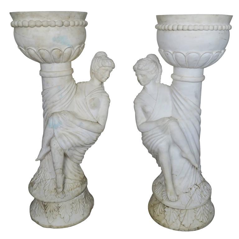 Pair of Italian Carrera Marble Figural Planters
