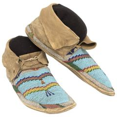 Antique Native American Beaded Hide Moccasins, Plains, 19th Century
