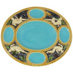 Majolica Turquoise Neptune Platter Minton, circa 1865