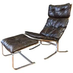 """Rare Steel """"Siesta"""" Chair and Ottoman by Ingmar Relling for Westnofa"""
