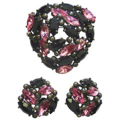 1950s Elsa Schiaparelli Rhinestone Brooch and Earring Set