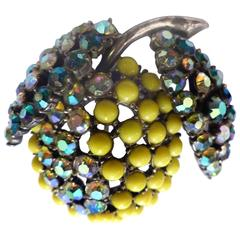 1950s Elsa Schiaparelli Rhinestone Lemon Pin