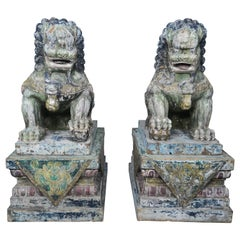 Pair of Monumental Carved Wood Painted Foo Dogs
