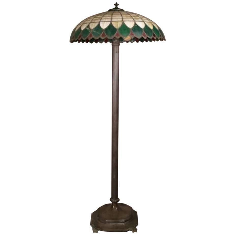 antique wilkinson school bronze lamp and leaded glass shade for sale. Black Bedroom Furniture Sets. Home Design Ideas