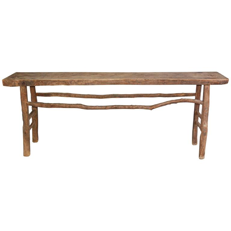 Rustic One Of A Kind Natural Teak Wood Slab Coffee Table: Rustic Organic Asian Teak Wood Console Table For Sale At