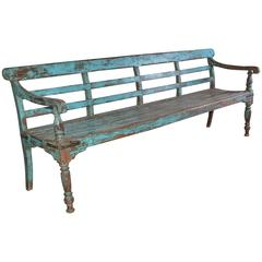 Antique Painted Teak Wood Garden Bench