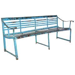 Antique Slatted Iron Garden Bench