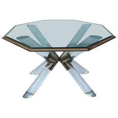 Post and Truss Lucite Dining Table by Charles Hollis Jones