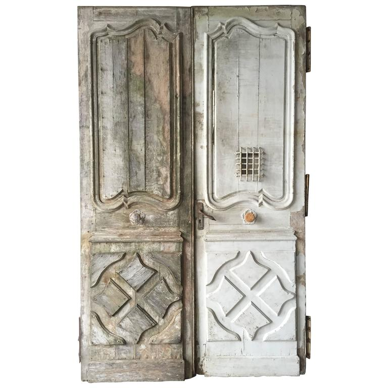 Original Chateaux Front Doors, Solid Oak Hand-Crafted, 18th Century, France