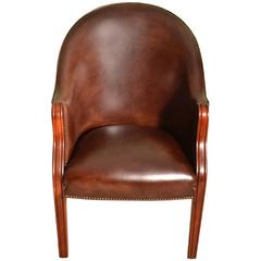 English Handmade Leather Desk Chair Tobacco