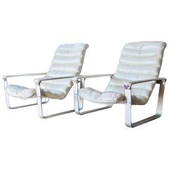 Asko Pulkka Leather Lounge Chairs by Ilmari Lappalainen, Finland, 1960s