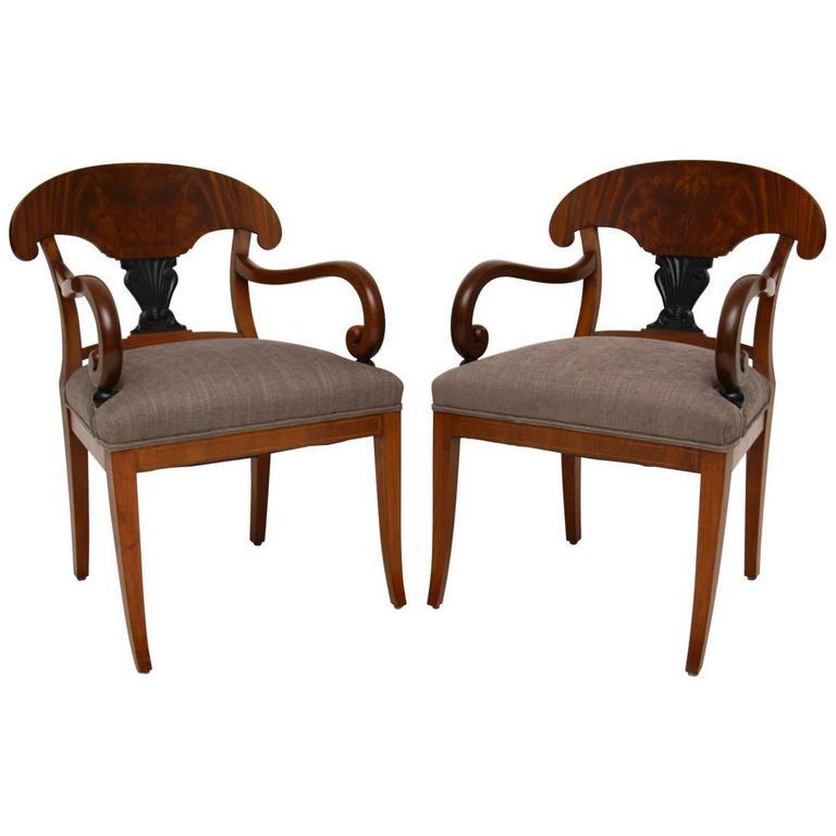 Pair of Antique Swedish Satin Birch Armchairs For Sale - Pair Of Antique Swedish Satin Birch Armchairs At 1stdibs