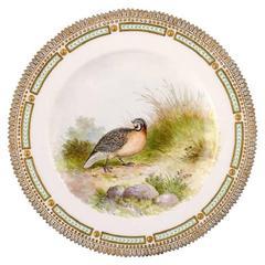 Royal Copenhagen Flora Danica/Fauna Danica Dinner Plate with a Bird
