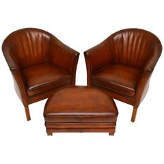 Pair of Swedish Antique Leather Tub Armchairs and Stool