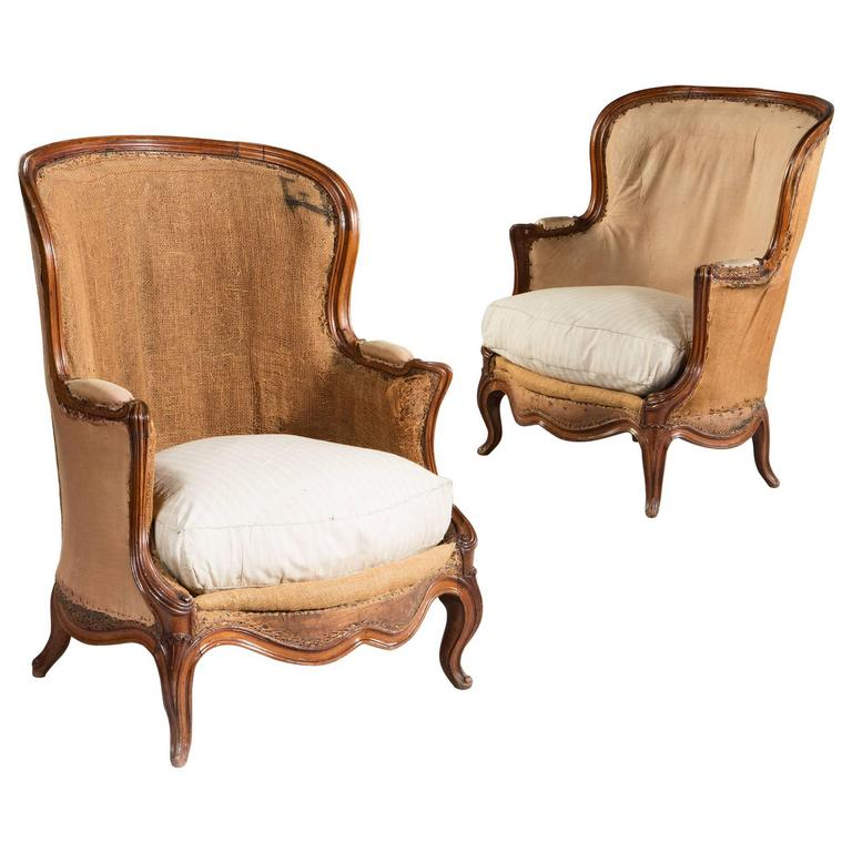 Overscale Pair of 19th Century Walnut Bergeres