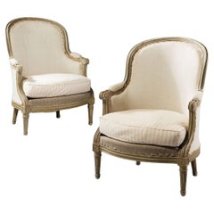 Fine Pair of 19th Century Painted Bergeres