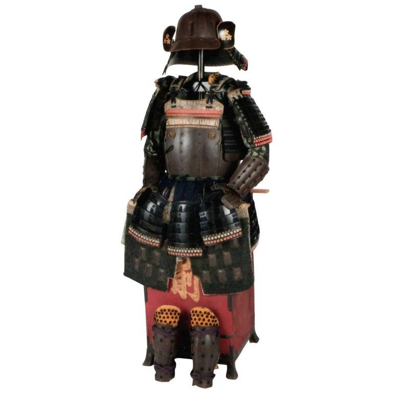 18th Century Yoroi Japanese Decorative Samurai Armour with Original Box For Sale