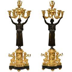 Pair of Important Gilt Bronze Empire Candelabra, Paris, circa 1805