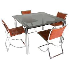 Dining Room Set Ascribable to Vittorio Introini with Table and Chairs, 1970s