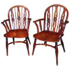 Pair of George III Period Yewwood and Elm Windsor Armchairs