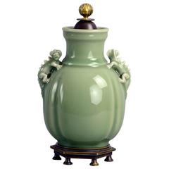 Ceramic Jar with Celadon Glaze, Bronze Lid and Foot, by Bode Willumsen 1930s
