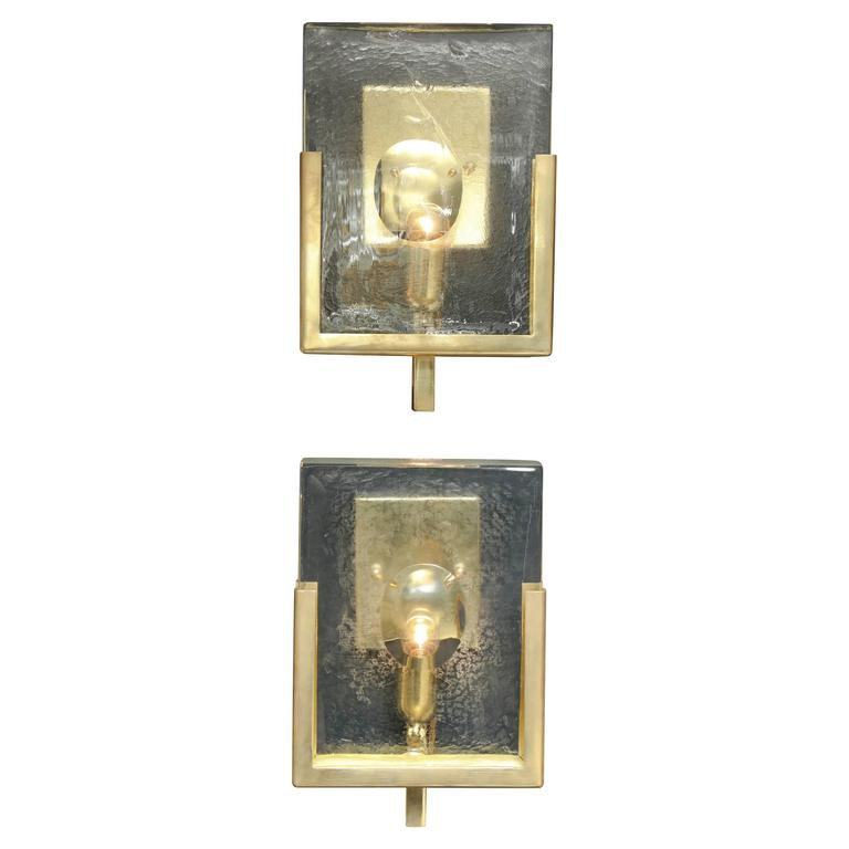 Pair of Italian Solid Murano Glass Block and Brass Sconces 1