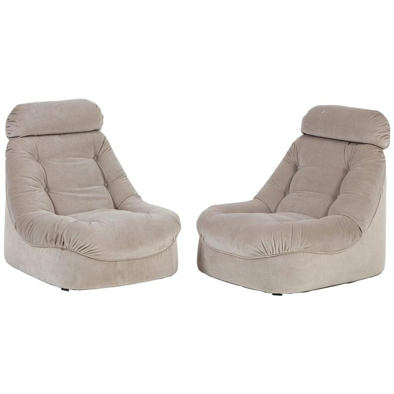 Pair of Mid-Century Modern Lean Back Loungers in Grey Velvet 1