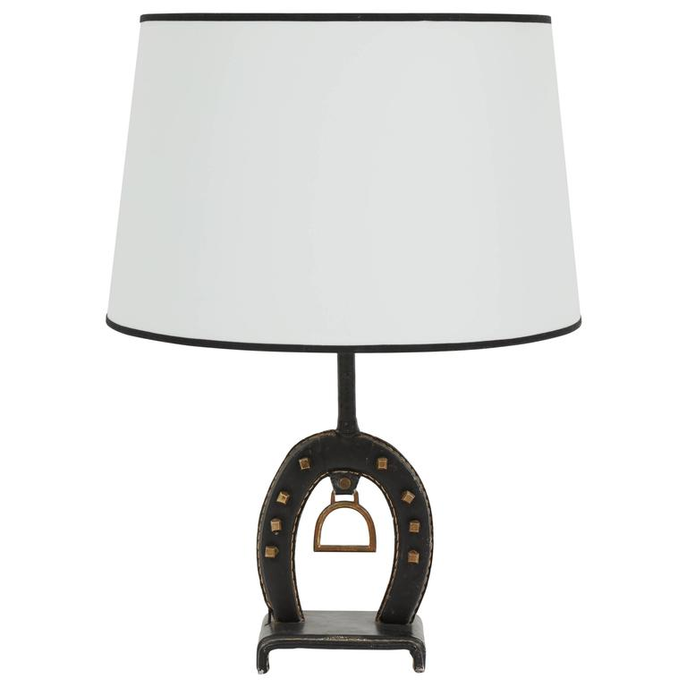 Jacques Adnet Leather Equestrian Table Lamp